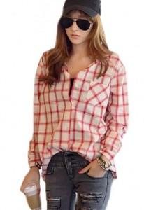 Checkered Buttons Long Sleeve Shirt Blouse for women