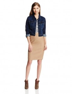 midi skirts in combo with trucker jacket 2014-2015
