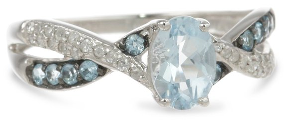 Blue Topaz and Diamond Twist Ring
