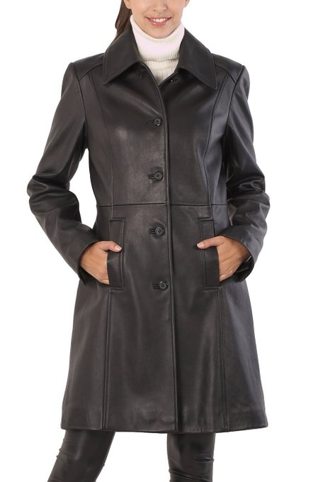 ladies fall leather coat