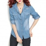 Latest Denim Shirts for Young Women 2015