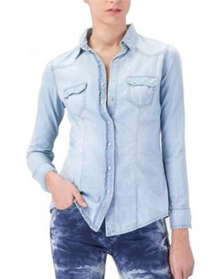 latest denim shirt for ladies 2015