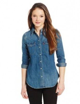 young ladies denim shirt 2015