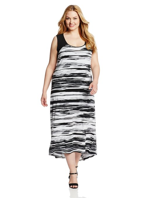 Summer dress with black and white prints 2015
