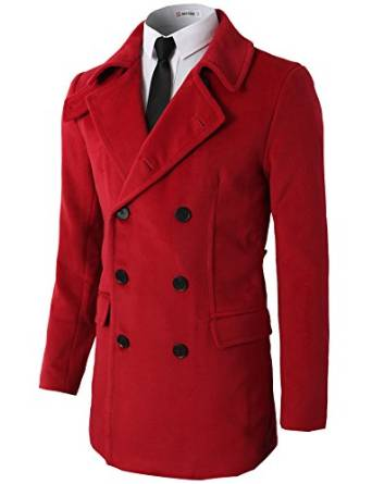 red peacoat for men 2018