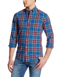 Men's Faded Indigo Check Long Sleeve Shirt