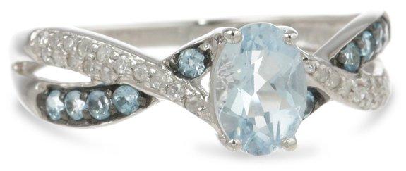 Blue Topaz and Diamond Twist Ring