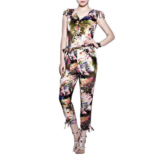 latest overalls with floral prints 2015