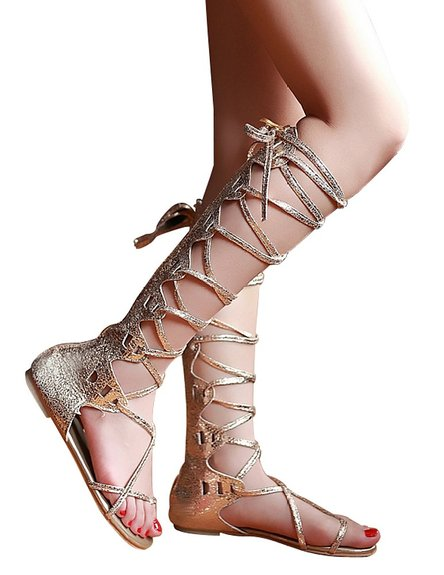 Gladiator Sandals Gold Color 2015